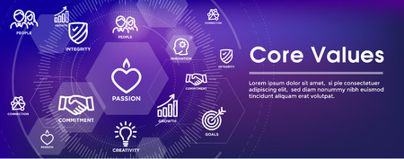 Core Values Outline Icon with person and collaborating  thinking ideas web banner header