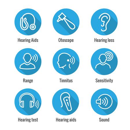 Apparecchi acustici o perdita con set di icone di immagini dell'onda sonora