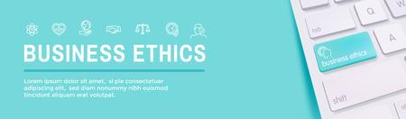 Ensemble d'icônes de bannière Web d'éthique des affaires - honnêteté, intégrité, engagement et décision Vecteurs