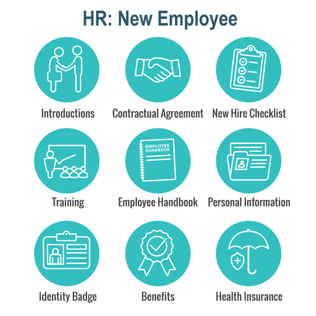 New Employee Hiring Process icon set   with checklist, handshake, training, etc Stok Fotoğraf - 106831934