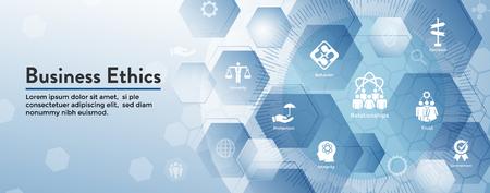 Ensemble d'icônes de bannière Web d'éthique des affaires - honnêteté, intégrité, engagement et décision