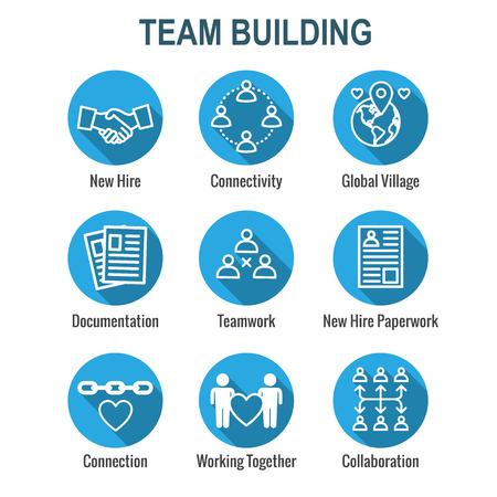 Symbolsatz für Teambildung, Teamarbeit und Konnektivität mit Strichmännchen und Schnittpunkten