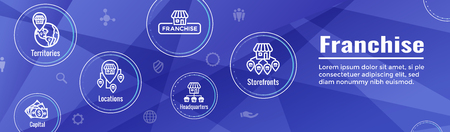 Franchise Icon Set w Home Office, corporate Headquarters and Franchisee Icon Images