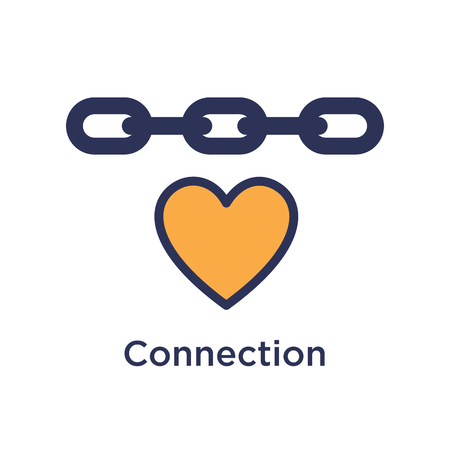 Team Building, Teamwork, and Connectivity Icon Set w Heart and Chain