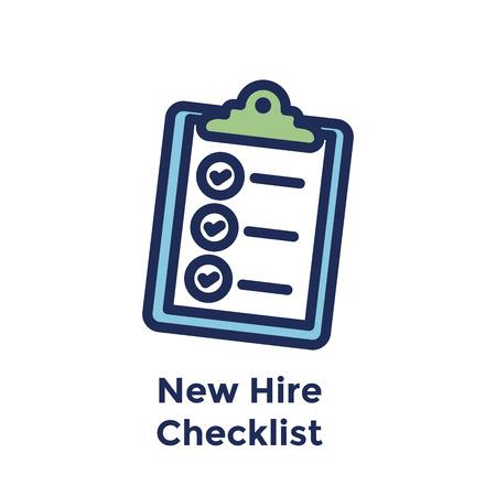 New Employee Hiring Process icon w checklist