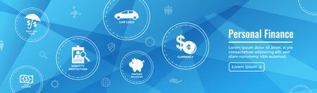 パーソナルファイナンスWebヘッダーバナーw雨の日のファンド、現金準備金、普通預金口座、持っている、および住宅ローンのアイコンセット