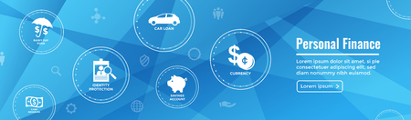 Personal Finance Web Header Banner w Rainy Day fund, cash reserves, savings account, hsa, and mortgage loan icon set
