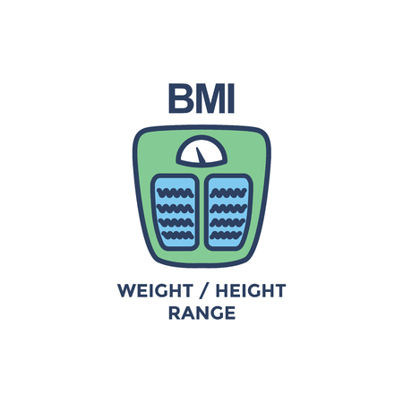 BMI - Body Mass Index Icon with weight scale - green and blue