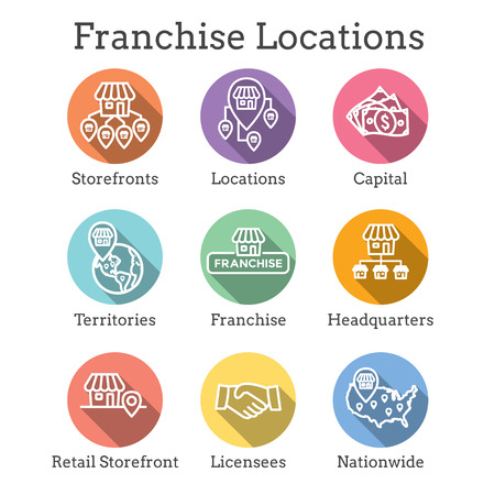 Franchise Icon Set with Home Office, corporate Headquarters - Franchisee Icon Images Vettoriali