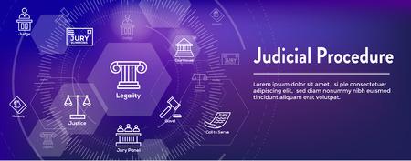Set di icone legali e legali - Icone giudice, giuria e giudiziarie