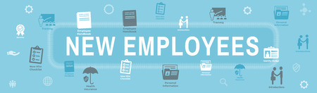 New Employee Hiring Process icon set  - handbook, checklist, etc