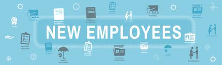 New Employee Hiring Process icon set  - handbook, checklist, etc