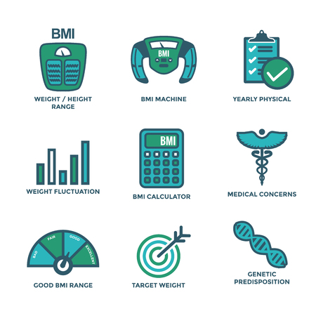 BMI - Body Mass Index Icon Set with BMI Machine, a weight scale, etc