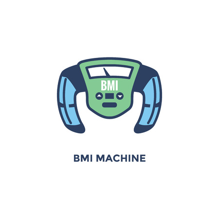 BMI - Body Mass Index Icon - BMI Machine - green and blue Illustration