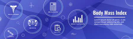 BMI or Body Mass Index Icons w scale, indicator, and calculator
