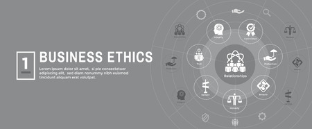 Business Ethics Web Banner Icon Set - Honesty, Integrity, Commitment, and Decision Illustration