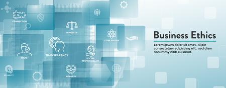 Business Ethics Web Banner Icon Set - Honesty, Integrity, Commitment, and Decision Ilustração