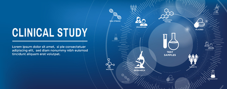 Icônes de soins médicaux avec des personnes cartographiant la maladie / bannière d'en-tête de découverte scientifique Vecteurs