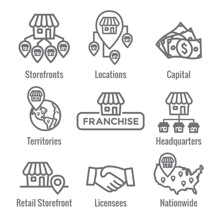 Franchise Icon Set with Home Office, corporate Headquarters - Franchisee Icon Images Illustration