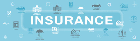 Insurance Web Header Banner that Covers homeowners, medical, life, & vehicle insurance Ilustração