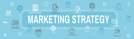 Marketing Strategy Web Header Hero Image Banner with inbound lead generation, chat, & seo ideas Иллюстрация