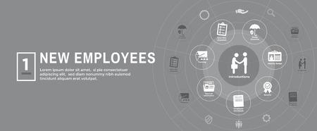 New Employee Hiring Process icon set  - handbook, checklist, etc Stok Fotoğraf - 107269691