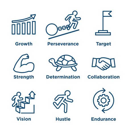 Persistence icon set - image of extreme motivation and drive set on persevering Stock Illustratie