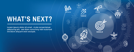 What's Next Header Web Banner showing - Next Big Idea Иллюстрация