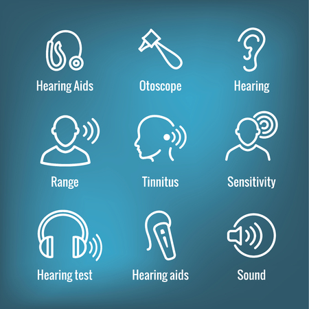 Hearing Aid or loss with Sound Wave Images Icon Set