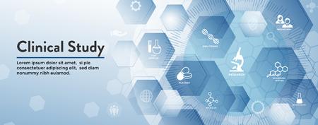 Icone di assistenza sanitaria medica con persone che tracciano la malattia / Banner di intestazione di scoperta scientifica