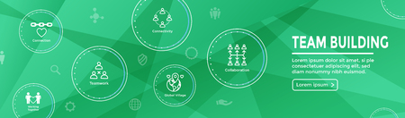 Team Building, Teamwork, and Connectivity Icon Set w Stick Figures and Intersections Web Header Banner