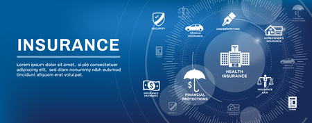 Insurance Web Header Banner that Covers homeowners, medical, life, & vehicle insurance Illustration