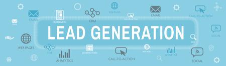 Banner di intestazione web per la generazione di lead che attira i lead: target di riferimento per aumentare la crescita dei ricavi e le vendite Vettoriali