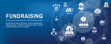 Personas que trabajan juntas: financian diferentes ideas en línea con el conjunto de iconos de dinero Banner de encabezado web Ilustración de vector