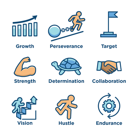 Persistence icon set - image of extreme motivation and drive set on persevering Vettoriali