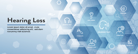 Hearing Aid / loss Web Header Banner with Sound Wave Images Set Banque d'images - 108452585