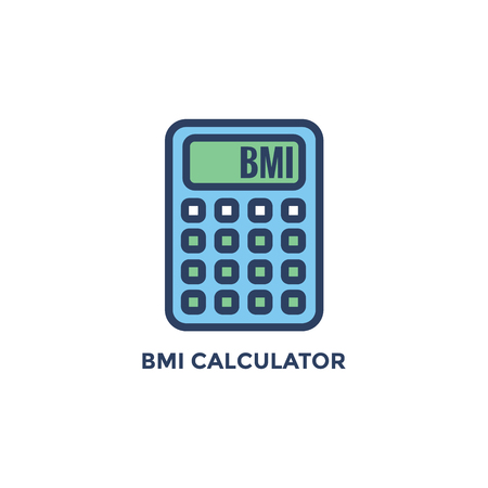 BMI - Body Mass Index Icon - BMI Calculator - green and blue Illustration