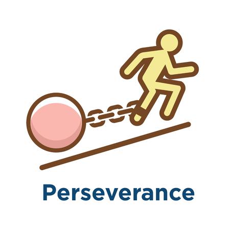 Icône de persévérance w image de motivation extrême et de détermination à persévérer