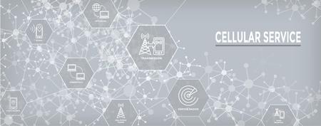 Mobile Cellular Service Web Header Banner with Cellphone Towers & Service area Vektoros illusztráció