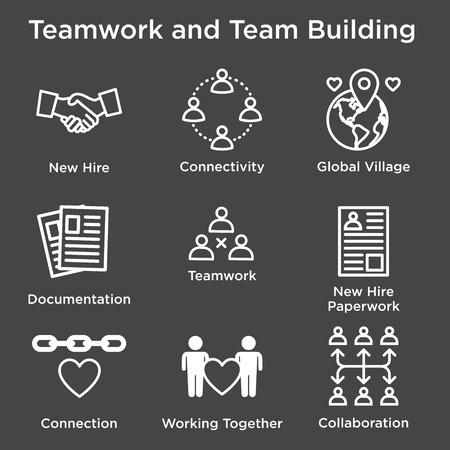 Conjunto de iconos de Team Building, trabajo en equipo y conectividad con figuras de palo e intersecciones Ilustración de vector