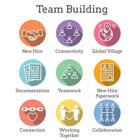 Symbol für Teambildung, Teamarbeit und Konnektivität mit Strichmännchen und Schnittpunkten