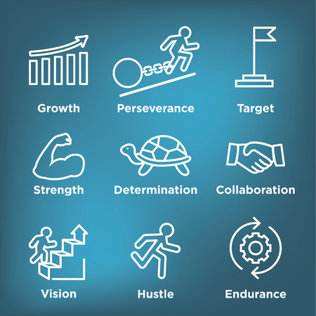Persistence icon set - image of extreme motivation and drive set on persevering Illustration