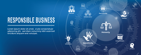 Social Responsibility Web Banner Icon Set & Web Header Banner w Honesty, integrity, collaboration, etc Illustration