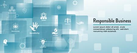 Social Responsibility Web Banner Icon Set & Web Header Banner w Honesty, integrity, collaboration, etc Ilustração