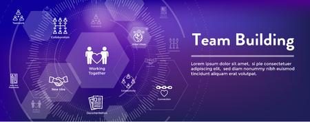Conjunto de iconos de Team Building, trabajo en equipo y conectividad w Banner de encabezado web de figuras de palo e intersecciones Ilustración de vector
