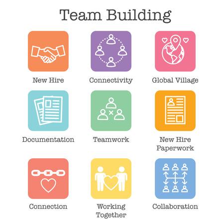 Conjunto de iconos de Team Building, trabajo en equipo y conectividad con figuras de palo e intersecciones