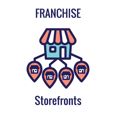 Franchise Icon with Home Office, corporate Headquarters - Franchisee Icon Images