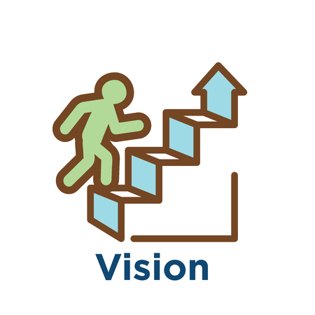 Persistence icon w image of extreme motivation and drive set on persevering Vetores