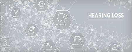Bannière d'en-tête Web pour appareils auditifs / perte avec ensemble d'images d'ondes sonores