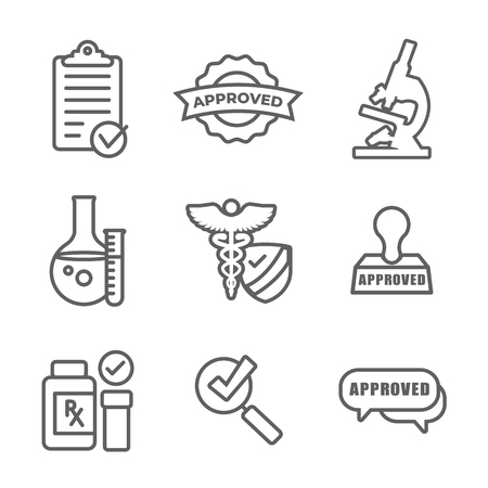 Drug Testing and Safety Icon Set Vector Graphic w Rounded Edges Vecteurs